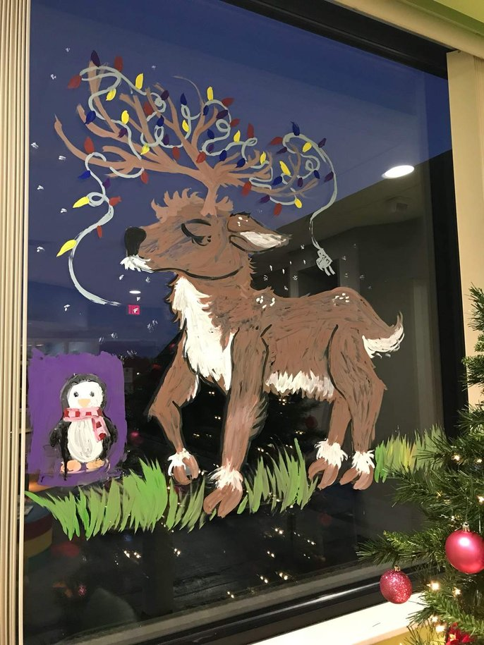reindeer painted on window