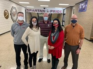 BHS school counselors wearing masks underneath Spartan Pride sign