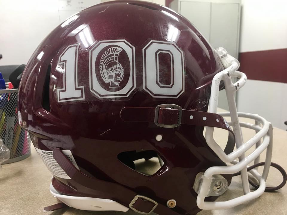 football helmet with 100 logo