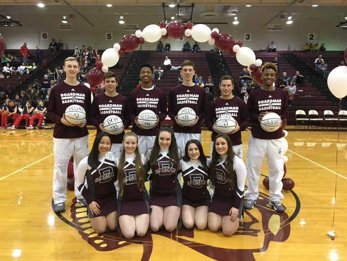 Senior night/ basketball players and cheerleaders