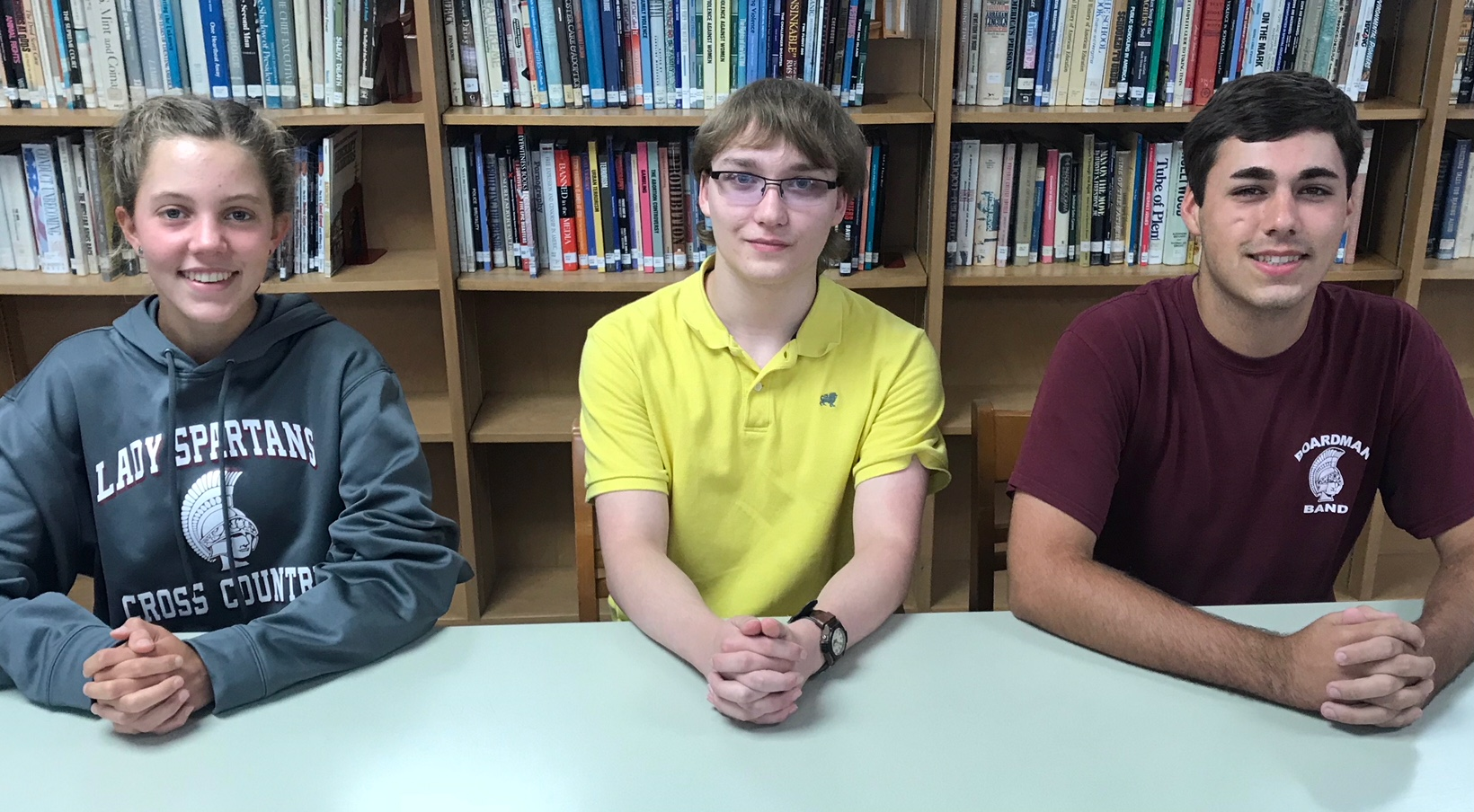 national merit scholars Sophia Mcgee, Ryan Coldren, Daniel Turillo