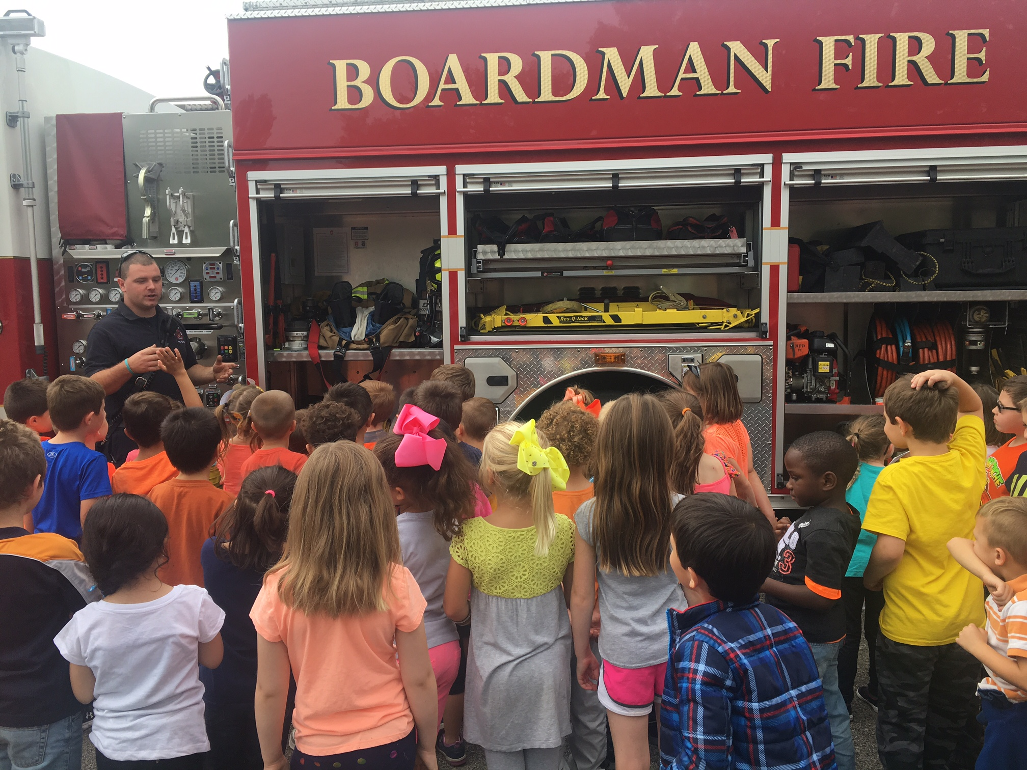 Boardman fire department visits Stadium Drive Elementary kindergarten