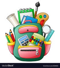 school supply graphic with markers, pencils, crayons