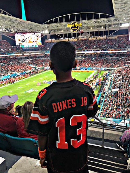 DaJuan Dukes looking out at stadium at Super Bowl