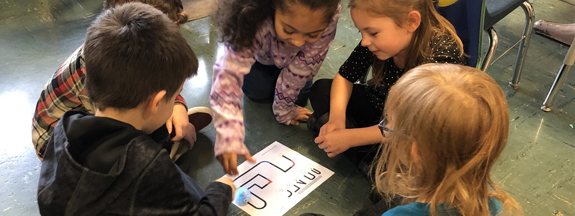 Kindergartners learn how use ozobots