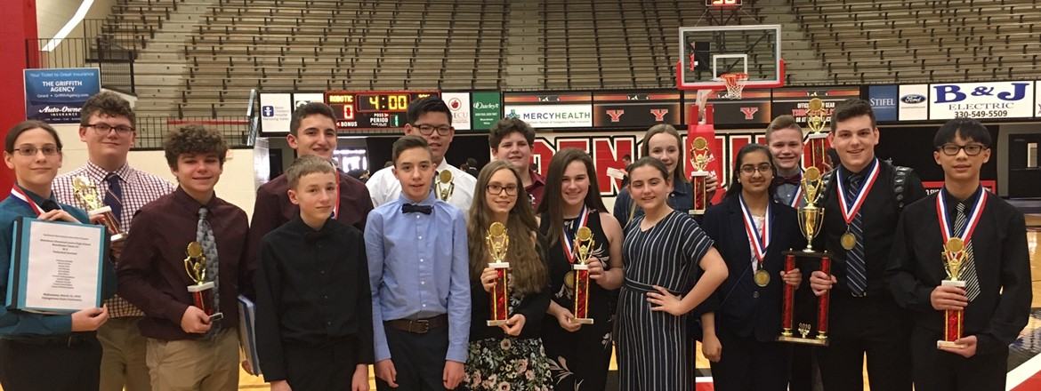 Glenwood Robitics teams at YSU pictured with first place trophies