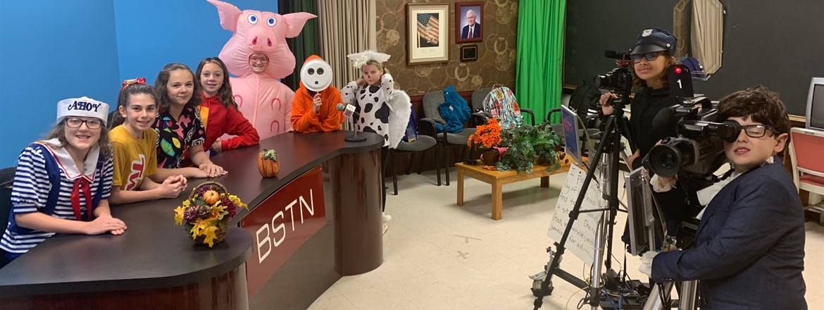 TV Crew dressed for Halloween and did morning announcements on TV set