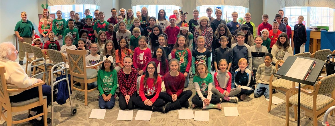 fifth graders dressed for the holiday at Shepherd of the Valley Asst. Living