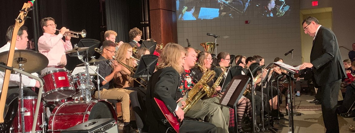 jazz band performing for holiday concert